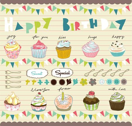 scrapbook cupcakes elements Vector