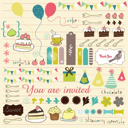 party scrapbook elements with cupcakes Vector