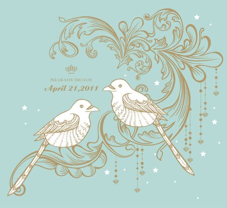 vintage card with birds Stock Vector - 9436564