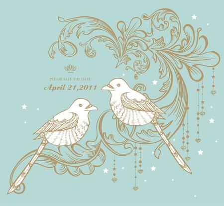 vintage card with birds Vector