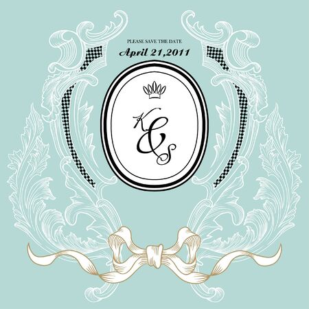 vintage invitation card for wedding Vector