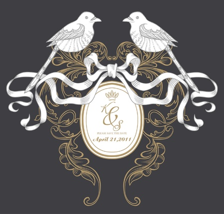 dark wedding card Vector