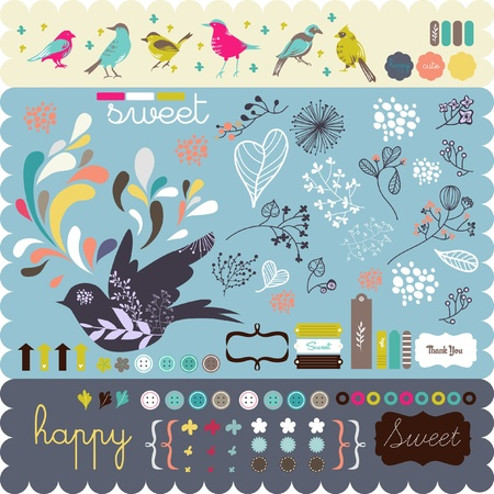 bookmark tags and srcapbook elements Stock Vector - 9427564