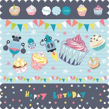 scrapbook cupcakes elements Stock Vector - 9427589