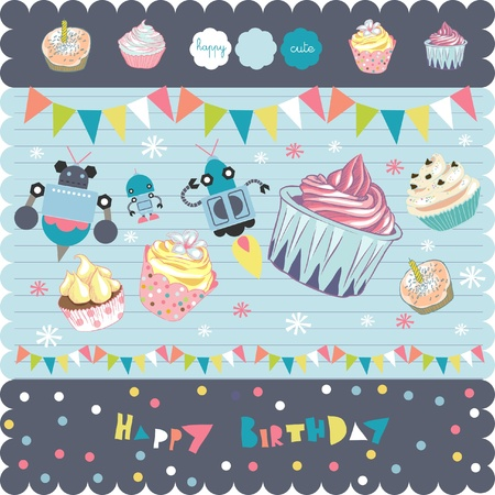 party banner: scrapbook cupcakes elements
