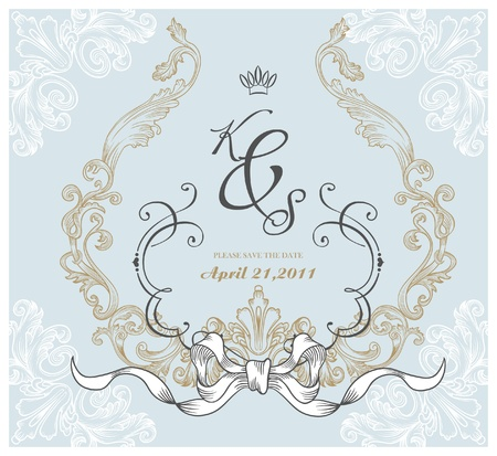vintage invitation card for wedding Stock Vector - 9427591