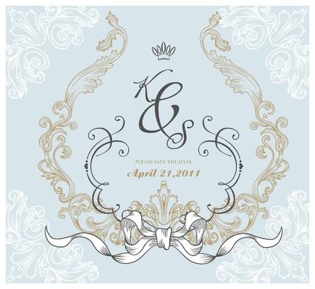 vintage invitation card for wedding Stock Vector - 9427591