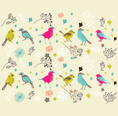 bird wallpaper best for fabric prints Vector