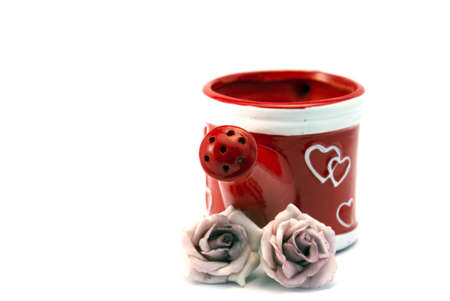 red watering can with two roses photo