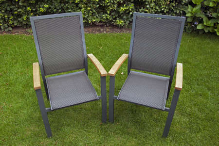 two chairs: Two chairs in the garden Stock Photo