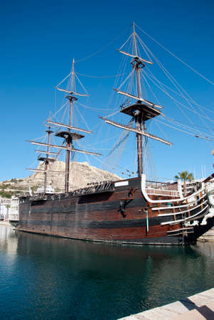Old galleon ship in the Alicante harbour in spain photo