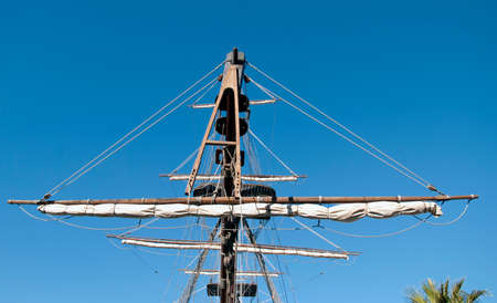 Masts of an old Galleon ship photo