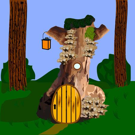 lodge: lodge in the wood fantasy beautiful cottage Illustration