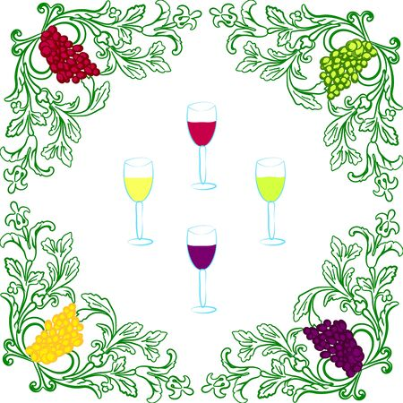 red grape: grapes and wine Illustration