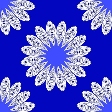 blue flower: floral abstract ornament