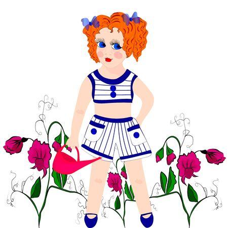 girl with flowering sweet peas Çizim