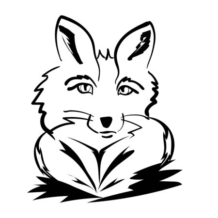 abstract portrait: fantasy abstract portrait of a Fox on a white background Illustration
