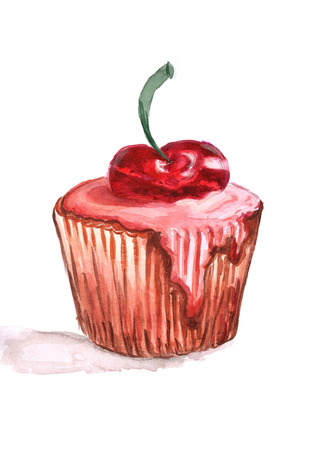 A sweet piece of cake with cherry syrup. image of cherry cake hand drawn doodle