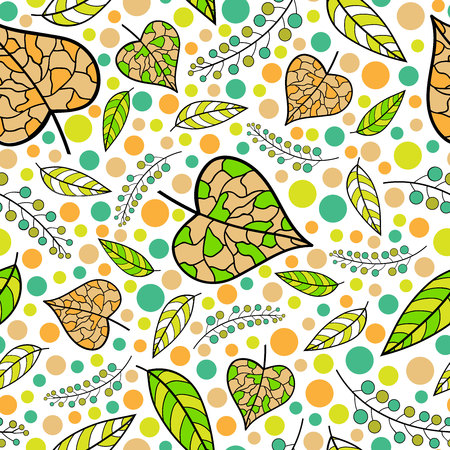 autumn leaves with colorful dots and berries on white background repeat pattern