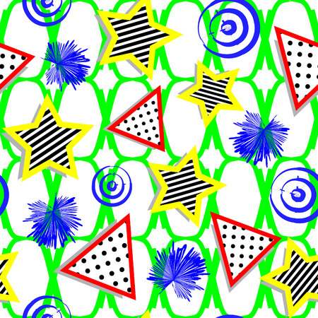 patterned triangles and stars with drop shadow Memphis design on vibrant green fishnet background seamless pattern