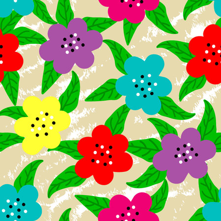 hand drawn flowers and leaves on textured sand colored background repeat pattern Vetores