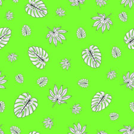 vector illustration. tropical leaves on vintage green background.