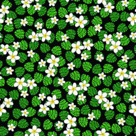 vector illustration. white plumeria flowers on jungle of split leaves with black background seamless repeat pattern. Иллюстрация
