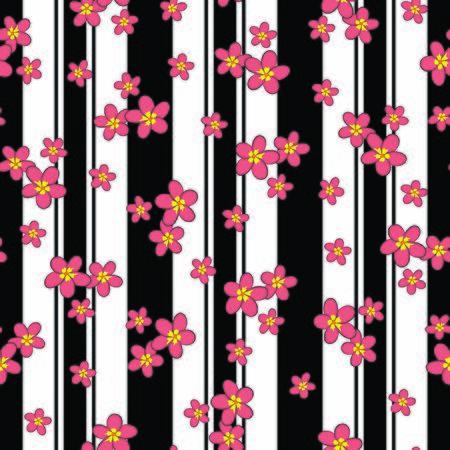 vector illustration. tea pink plumeria flowers on striped background seamless repeat pattern. Illustration
