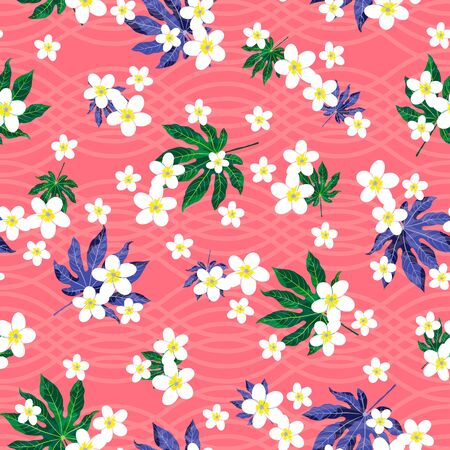 vector illustration. green blue aralia leaves and plumeria flowers on textures pink light pink background seamless repeat pattern. best for girls textile, apparels and wall paper.
