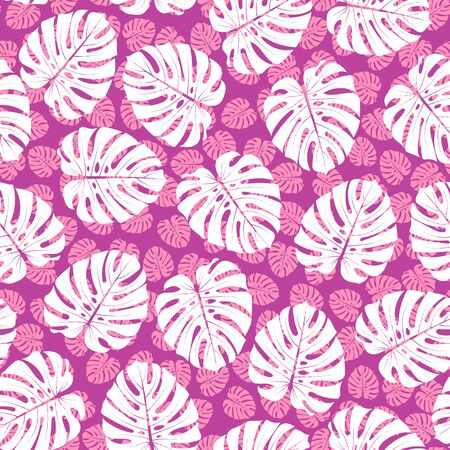 vector illustration. tropical white monstera leaves on tiny purple silhouette of leaves seamless repeat pattern. Çizim