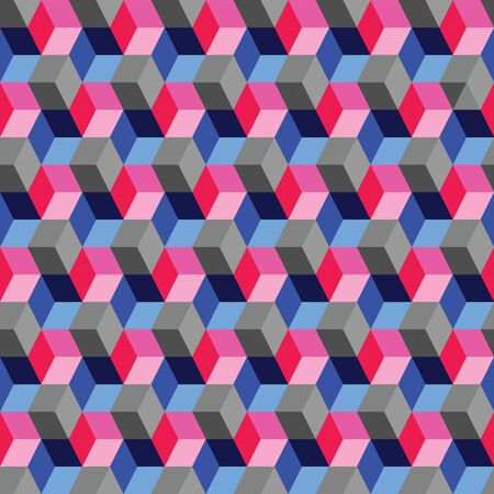 vector illustration.optical illusion cubes made by rhombuses.geometric design. seamless repeat pattern. blue pink gray cubes