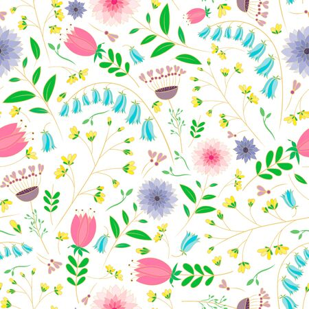 vector illustration. pastel bluebell, dahlia,tulip and wild flowers doodle seamless repeat pattern