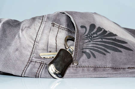 Retro FIltered Set Of Apartment Or Car Keys In Silver Jeans Pocket photo