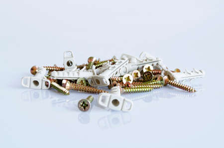 anodized: Zinked and anodized screws frame  Close-up  Macro  Stock Photo