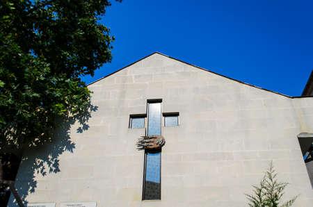 cross of church on wall photo