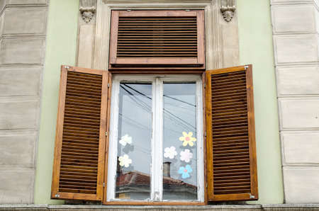 Rustic Old Wooden Window and Bulgarian Architecture photo