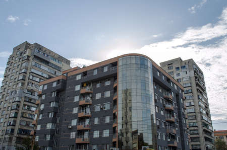 Exterior of glass residential building sunrise view Stok Fotoğraf - 32381921