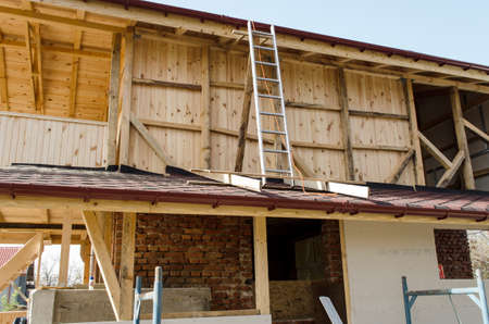 wooden joists: New Construction Wood Home Framing Abstract. Stock Photo