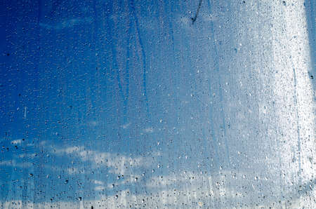 steamy: Closeup of natural water drop on glass background Stock Photo