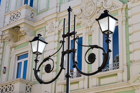 baroque architecture: street lamp in europe and baroque architecture style Stock Photo