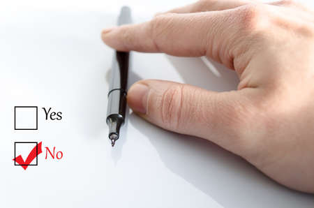 option key: Pen in the hand isolated over white background