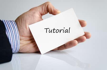 tutorial: Bussines man hand writing Tutorial Stock Photo