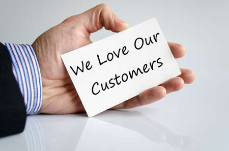 our: Business hand writing text We love our customers