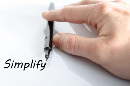 pragmatic: Human hand writing Simplify isolated over white background - business concept