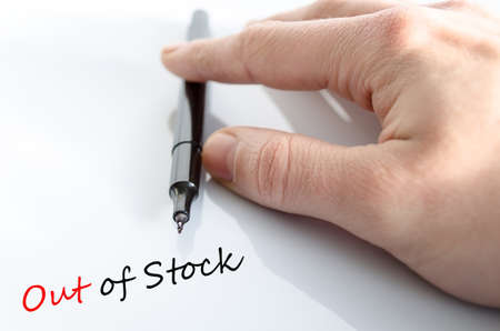 temporarily: Pen in the hand isolated over white background and text Out of stock