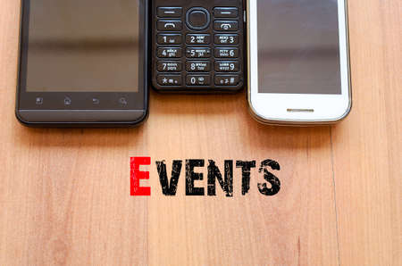 mobiele telefoons: Mobile Telephones Text Concept Events - smartphone and old mobile telephone Stockfoto