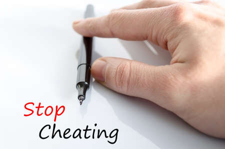 accused: Stop Cheating Concept Isolated Over White Background Stock Photo