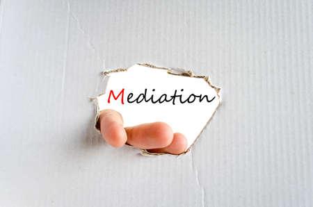 defendant: Hand on the cardboard background mediation concept