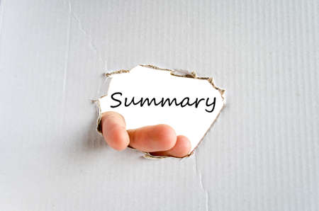 sump: Hand and text on the cardboard background Summary concept Stock Photo