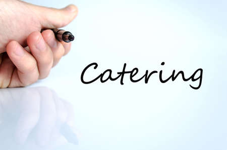 cuisine entertainment: Pen in the hand isolated over white background Catering concept